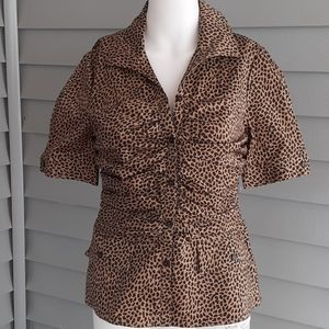Kay Unger button up short sleeve leopard print top